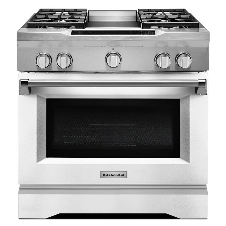 Shop kitchenaid deep recessed 5 burner self cleaning convection single oven dual fuel range - Kitchenaid inch dual fuel range ...