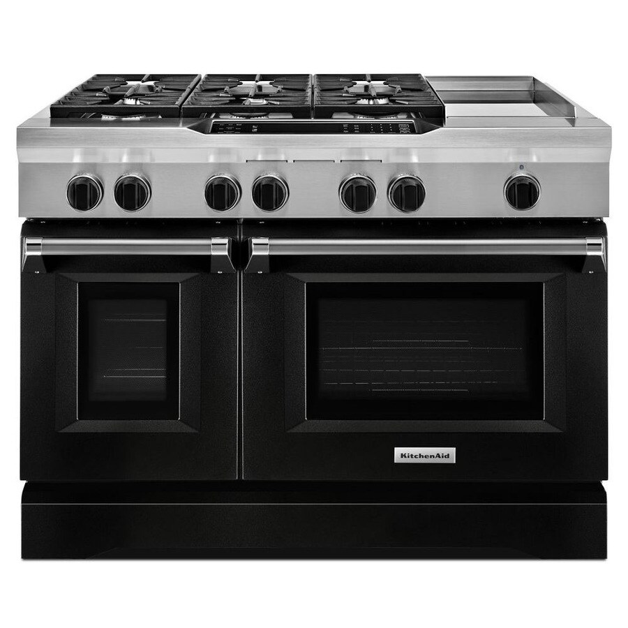 KitchenAid 48-in 7-Burner 4.1-cu ft/2.2-cu ft Double Oven Convection Dual Fuel Range (Imperial Black)