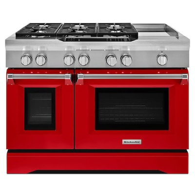 48 In 7 Burner 4 1 Cu Ft 2 2 Cu Ft Double Oven Convection Dual Fuel Range Signature Red