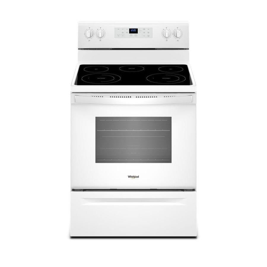 Whirlpool Smooth Surface Freestanding 5-Element 5.3-cu ft Self-Cleaning Electric Range (White) (Common: 30-in; Actual: 29.875-in)