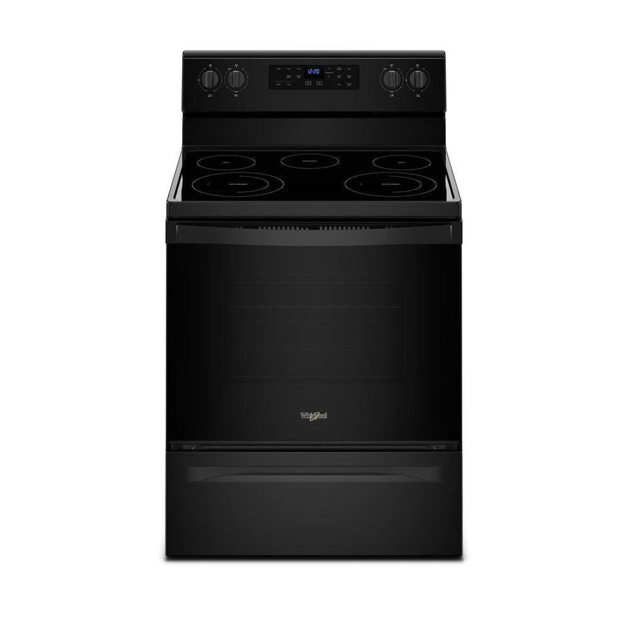 Whirlpool Smooth Surface Freestanding 5-Element 5.3-cu ft Self-Cleaning Electric Range (Black) (Common: 30-in; Actual: 29.875-in)