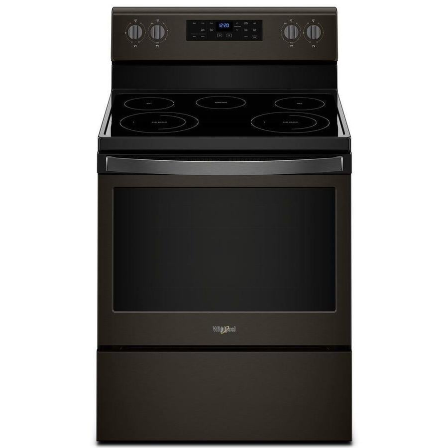 Whirlpool Smooth Surface Freestanding 5-Element 5.3-cu ft Self-Cleaning Electric Range (Fingerprint-Resistant Black Stainless) (Common: 30-in; Actual: 29.875-in)