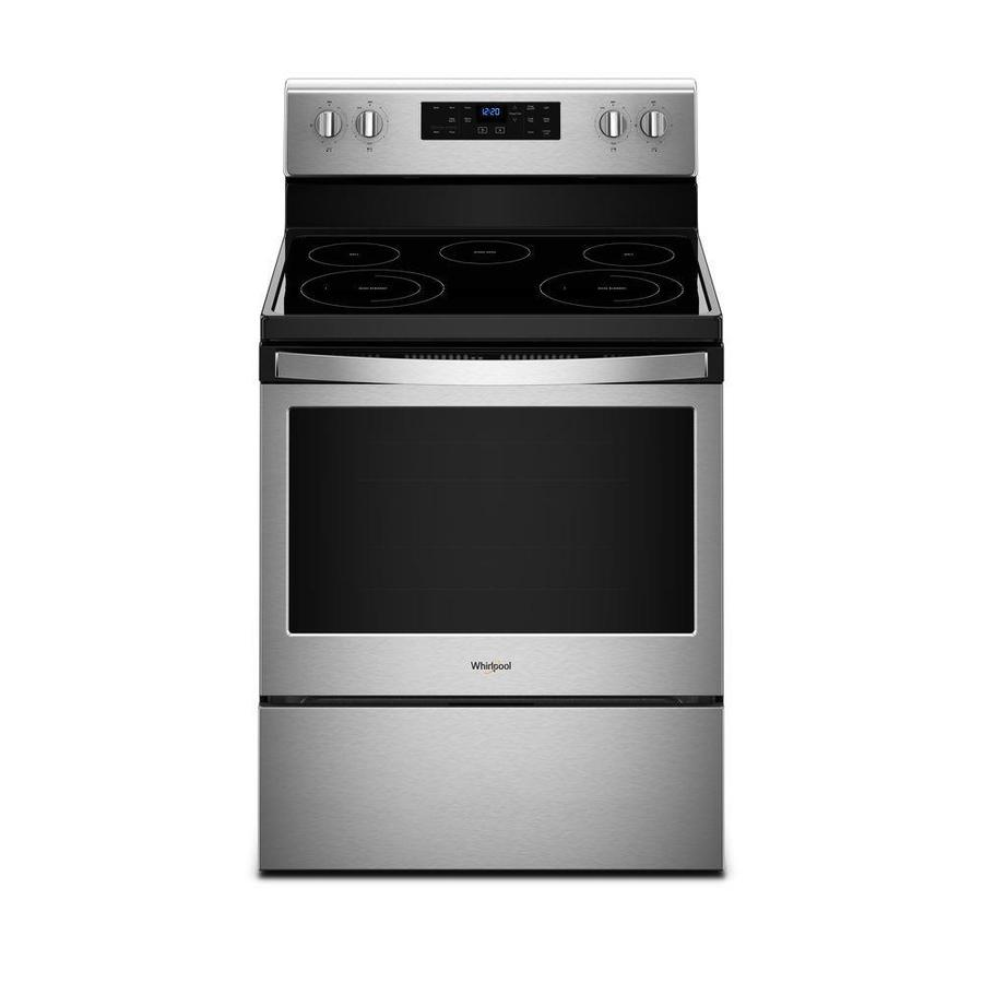 Whirlpool Smooth Surface 5 Element 3 Cu Ft Self Cleaning Freestanding Electric Range Stainless Steel Common 30 In Actual 29 875