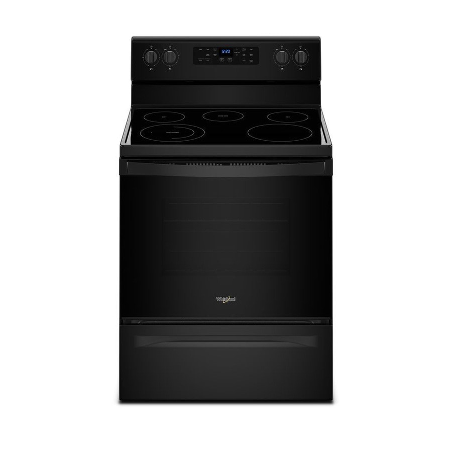 Whirlpool Smooth Surface Freestanding 5-Element 5.3-cu ft Self-Cleaning Electric Range (Black) (Common: 30 -in; Actual: 29.875-in)