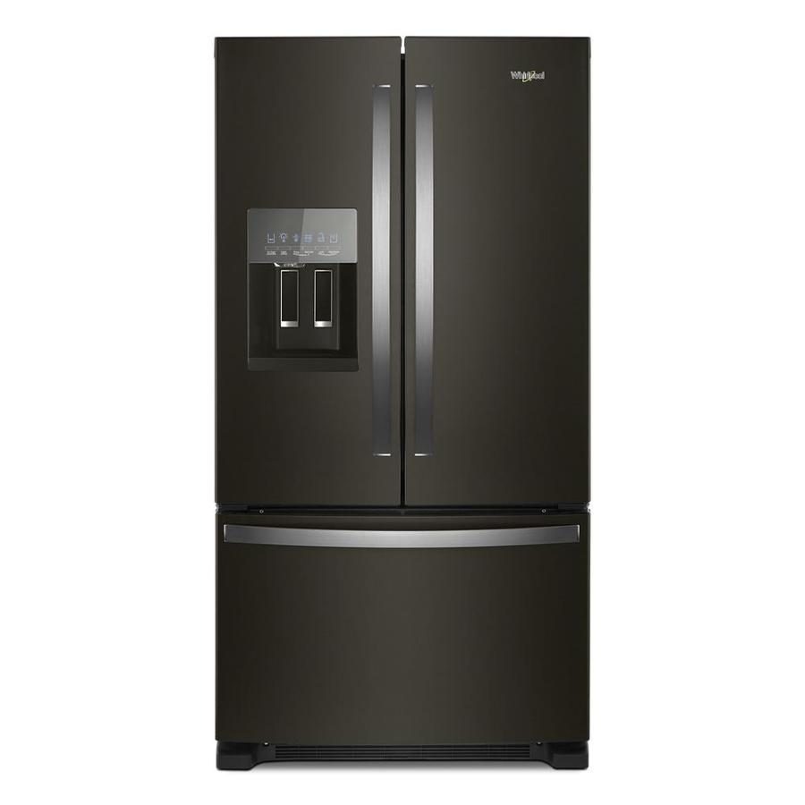 Whirlpool 20-cu ft Counter-Depth French Door Refrigerator with Ice Maker (Fingerprint-Resistant Black Stainless) ENERGY STAR