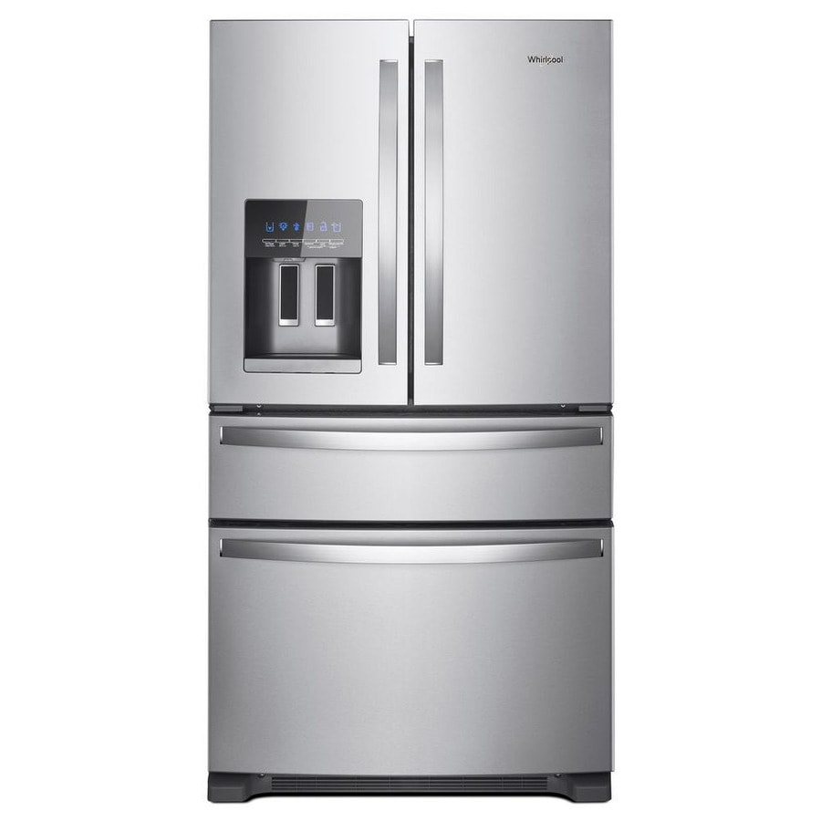 Shop french door refrigerators at lowes whirlpool 245 cu ft 4 door french door refrigerator with ice maker fingerprint rubansaba