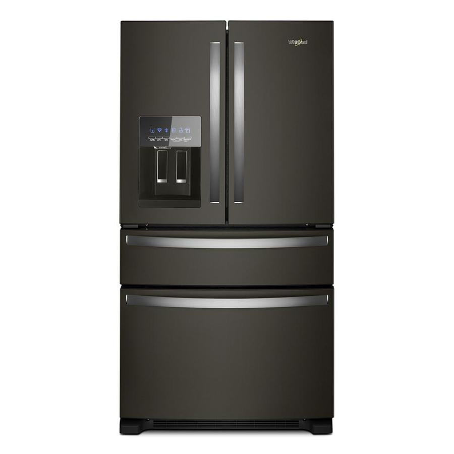 shop whirlpool 24 5 cu ft 4 door french door refrigerator with ice maker fingerprint resistant. Black Bedroom Furniture Sets. Home Design Ideas