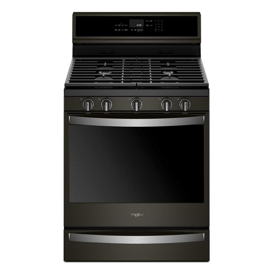 Whirlpool 5-Burner Freestanding 5.8-cu ft Self-cleaning Convection Gas Range (Fingerprint-Resistant Black Stainless) (Common: 30-in; Actual: 29.875-in)
