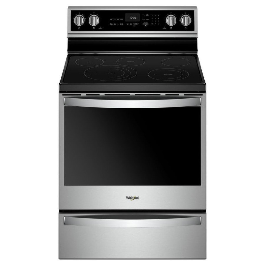 Whirlpool Smart Smooth Surface 5 Element 6 4 Cu Ft Self Cleaning Convection Freestanding Electric Range Fingerprint Resistant Stainless Steel Common