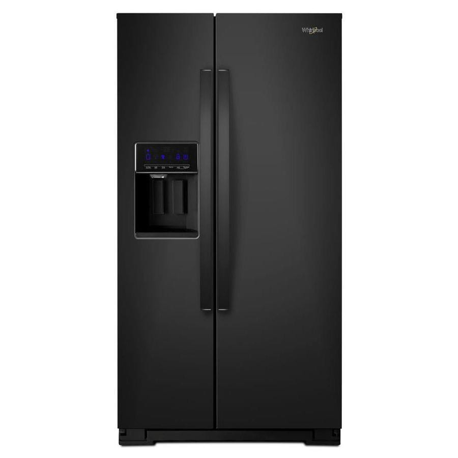 Whirlpool 20.6-cu ft Counter-Depth Side-by-Side Refrigerator with Ice Maker (Black)