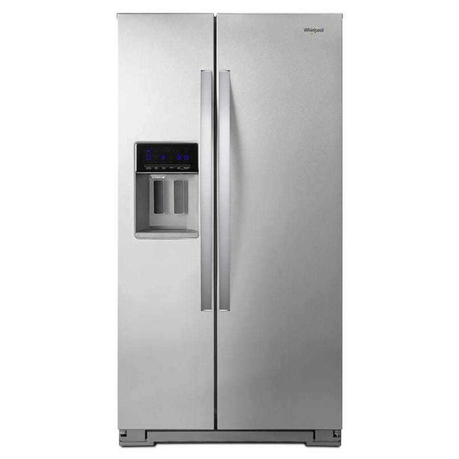 refrigerator cabinet depth shop whirlpool 20 6 cu ft counter depth side by side 25328