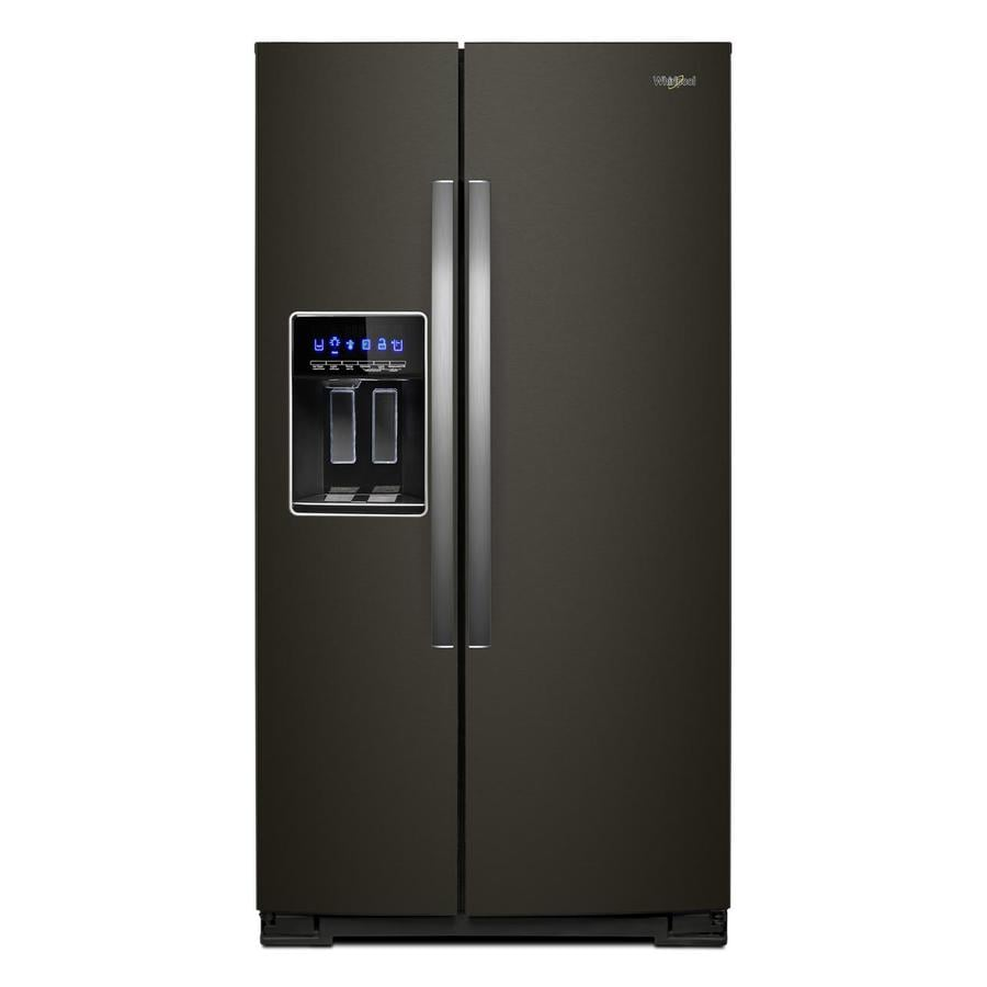 Whirlpool 28.4-cu ft Side-by-Side Refrigerator with Ice Maker (Fingerprint-Resistant Black Stainless Steel)