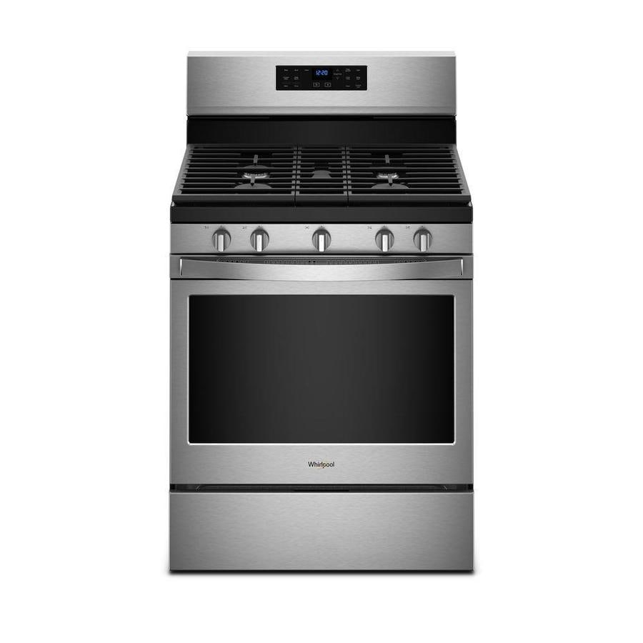 Whirlpool 5-Burner Freestanding 5-cu ft Self-cleaning Convection Gas Range (Fingerprint-Resistant Stainless Steel) (Common: 30-in; Actual: 29.875-in)