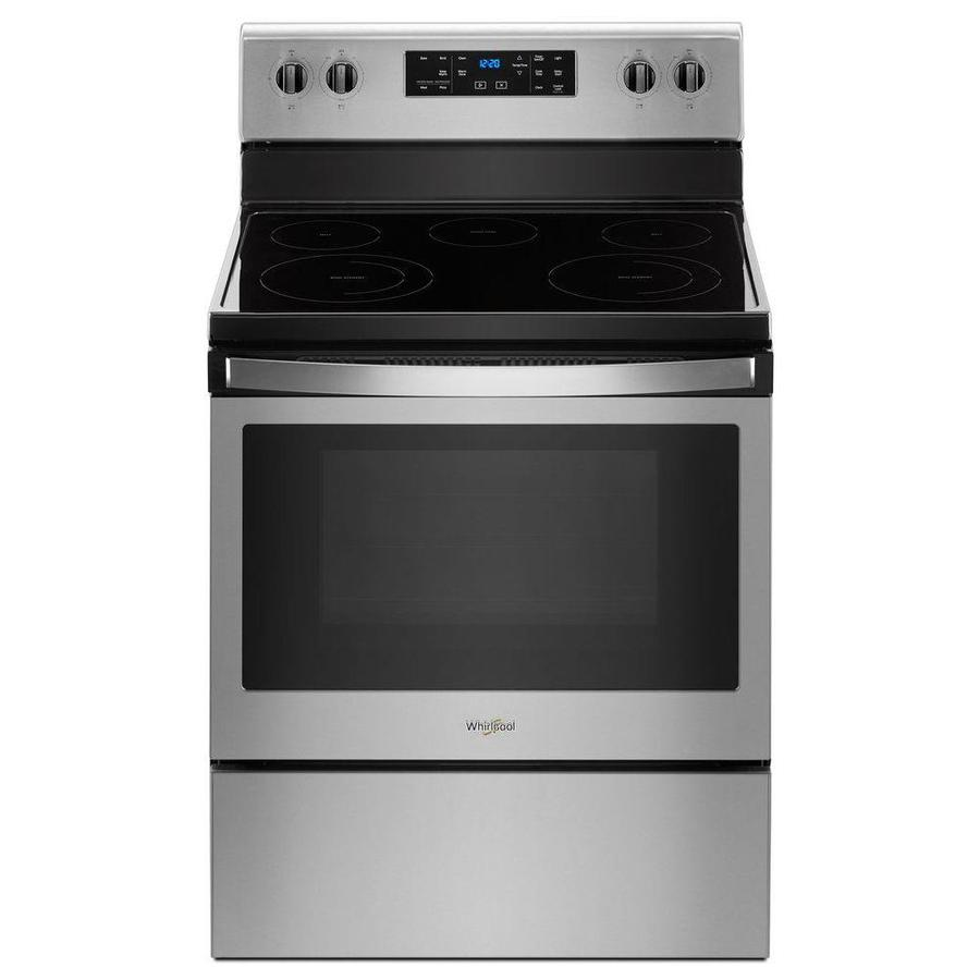 Whirlpool Smooth Surface 5-Element 5.3-cu ft Steam Cleaning Freestanding Electric Range (Fingerprint-Resistant Stainless Steel) (Common: 30-in; Actual: 29.875-in)