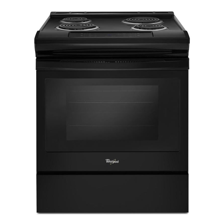 shop whirlpool coil surface self cleaning slide in electric range black common 30 in actual. Black Bedroom Furniture Sets. Home Design Ideas