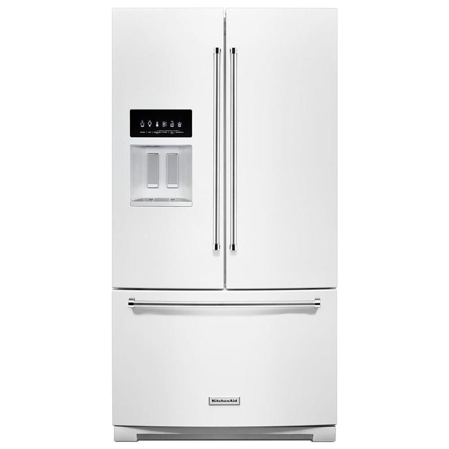 Shop Kitchenaid 20 8 Cu Ft Built In French Door: Shop KitchenAid 26.8-cu Ft French Door Refrigerator With Ice Maker (White) At Lowes.com