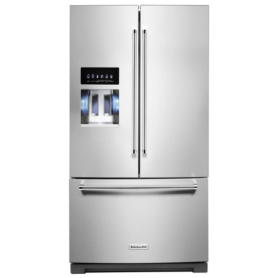 Shop Kitchenaid 23 8 Cu Ft Counter Depth French Door: Shop KitchenAid 26.8-cu Ft French Door Refrigerator With Ice Maker (PrintShield Stainless) At