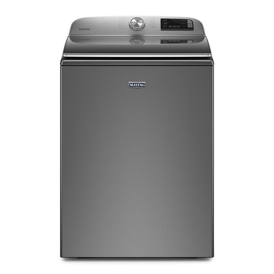 Maytag 4 7 Cu Ft Smart Capable High Efficiency Top Load Washers With Extra Power Button Metallic Slate In The Top Load Washers Department At Lowes Com