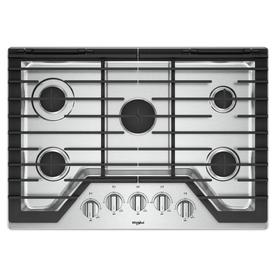 30 gas cooktop monogram whirlpool 5burner gas cooktop stainless steel common 30 inch shop cooktops at lowescom