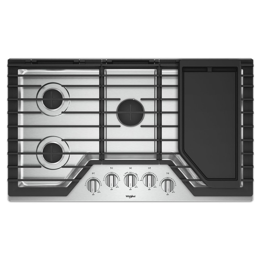 shop whirlpool 5 burner gas cooktop stainless steel common 36 inch actual 36 in at. Black Bedroom Furniture Sets. Home Design Ideas
