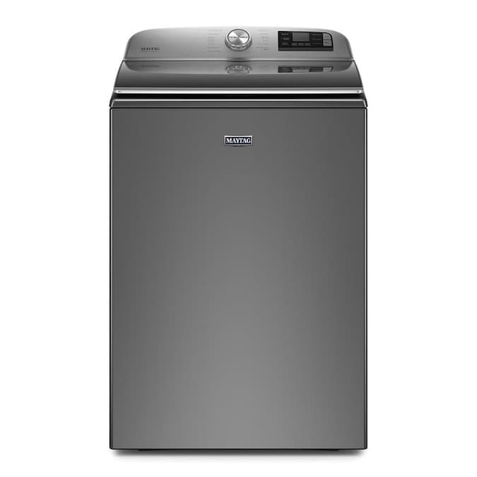 Maytag Smart Capable 5 3 Cu Ft High Efficiency Top Load Washer Metallic Slate Energy Star In The Top Load Washers Department At Lowes Com