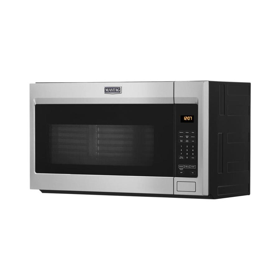 Maytag 1 9 Cu Ft Over The Range Microwave With Stainless Steel Cavity Fingerprint Resistant Stainless Steel In The Over The Range Microwaves Department At Lowes Com