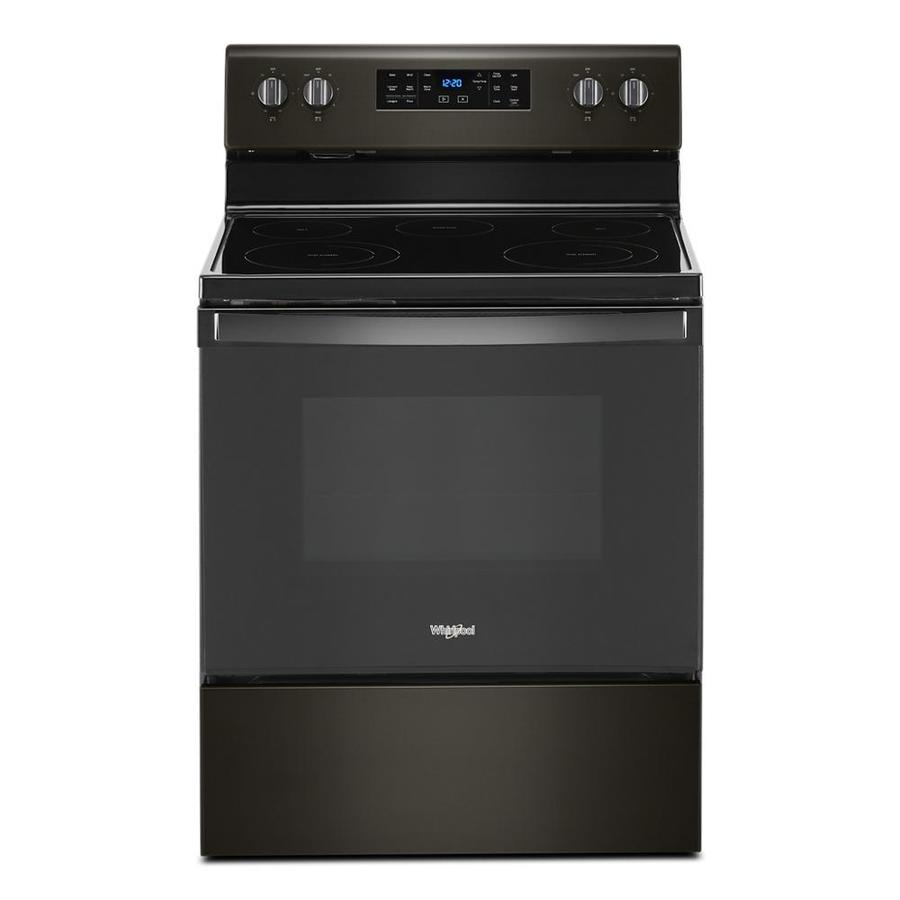 Whirlpool 5 3 Cu Ft Freestanding Self Cleaning Electric Range With Fan Convection Cooling Black Stainless In The Single Oven Electric Ranges Department At Lowes Com