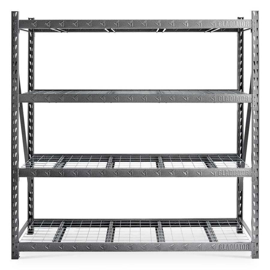 Gladiator Heavy Duty 24 In D X 90 In W X 90 In H 4 Tier Steel Utility Shelving Unit In The Freestanding Shelving Units Department At Lowes Com