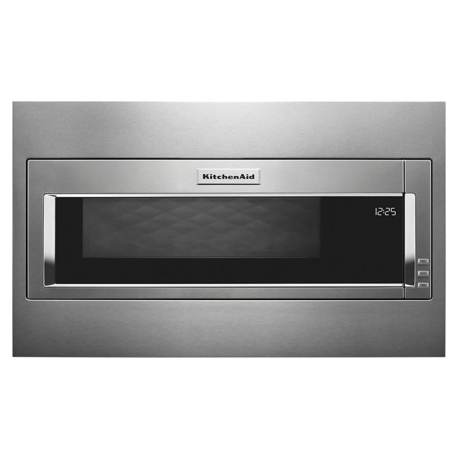 Kitchenaid 1 1 Cu Ft Built In Low Profile Microwave With Standard Trim Kit In The Built In Microwaves Department At Lowes Com