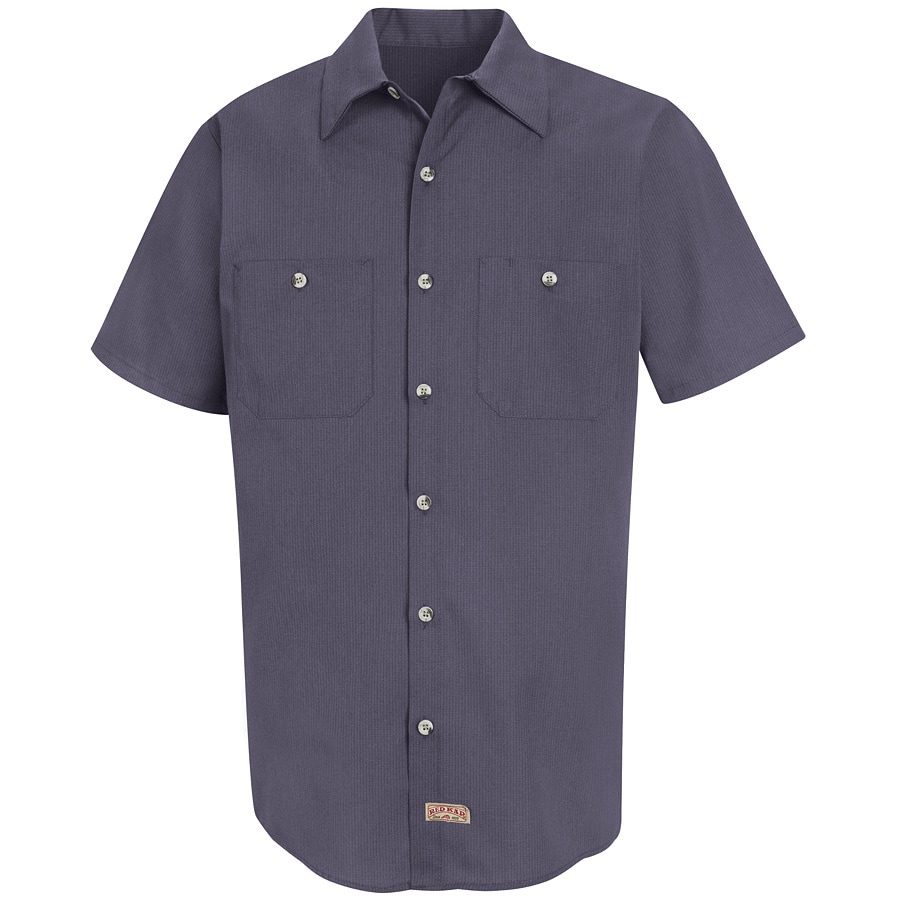 Red Kap Men's Large Blue/Charcoal Microcheck Poplin Polyester Blend Short Sleeve Uniform Work Shirt