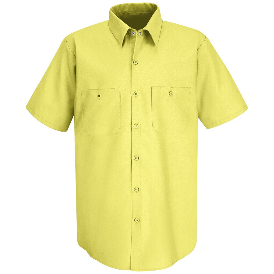 Red Kap Men's Large Yellow Poplin Polyester Blend Short Sleeve Uniform Work Shirt