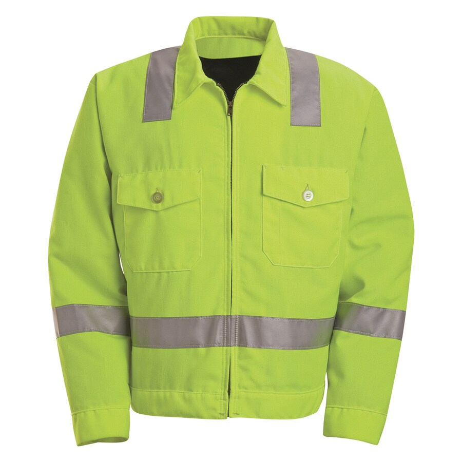 Red Kap 44-Long Unisex Flourescent Yellow Twill High Visibility (ANSI Compliant) Enhanced Visibility Bomber Jacket
