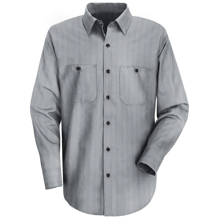 Red Kap Men's Large Charcoal with Blue Stripe Poplin Polyester Blend Long Sleeve Uniform Work Shirt