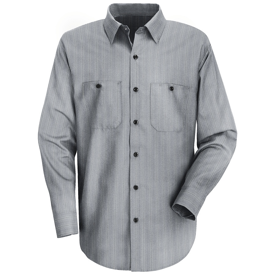 Red Kap Men's X-Large Charcoal with Blue Stripe Poplin Polyester Blend Long Sleeve Uniform Work Shirt