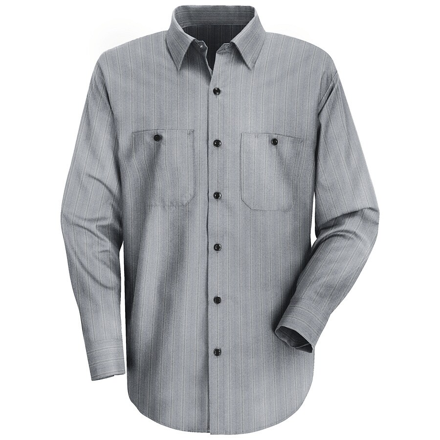 Red Kap Men's XX-Large Charcoal with Blue Striped Poplin Polyester Blend Long Sleeve Uniform Work Shirt