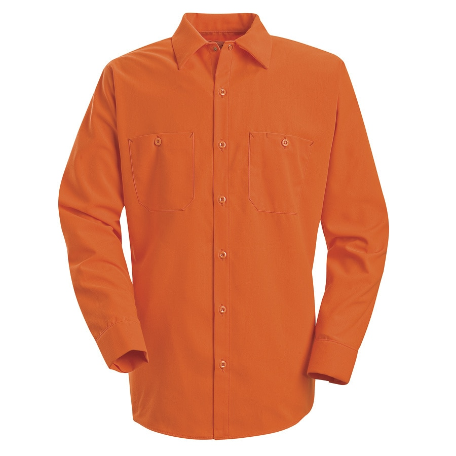 Red Kap Men's Large-Long Fluorescent Orange Poplin Polyester Long Sleeve Uniform Work Shirt
