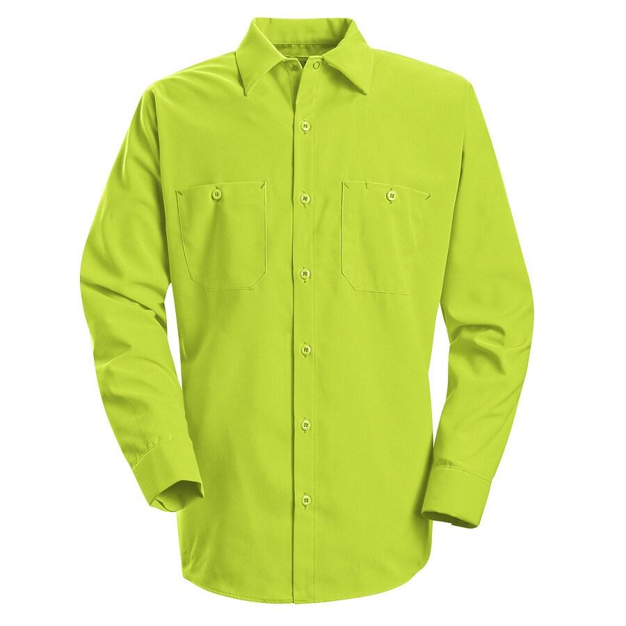 Red Kap Men's Large-Long Fluorescent Yellow Poplin Polyester Long Sleeve Uniform Work Shirt