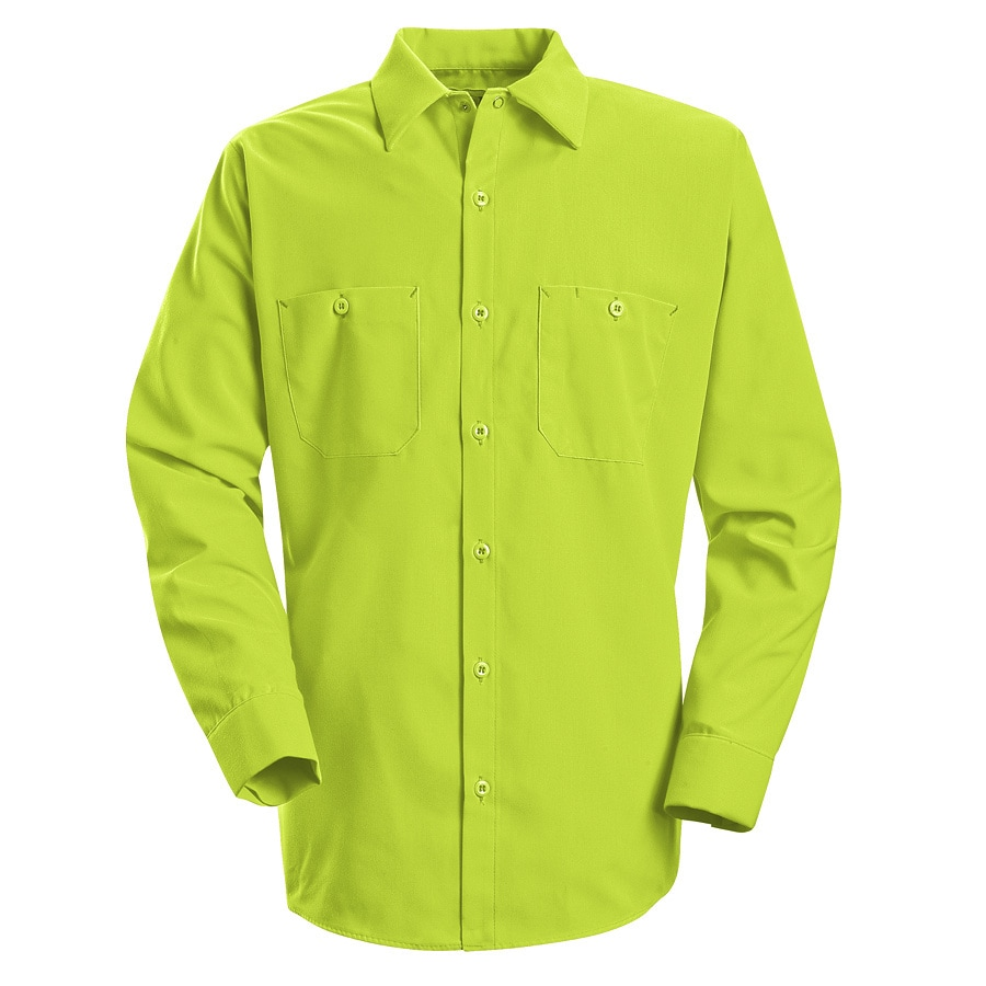 Red Kap Men's Medium-Long Fluorescent Yellow Poplin Polyester Long Sleeve Uniform Work Shirt