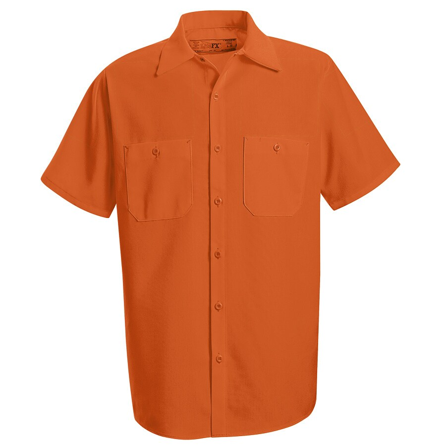 Red Kap Men's Large Fluorescent Orange Poplin Polyester Short Sleeve Uniform Work Shirt