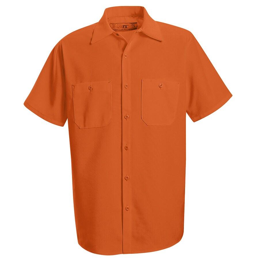 Red Kap Men's Large-Long Fluorescent Orange Poplin Polyester Short Sleeve Uniform Work Shirt