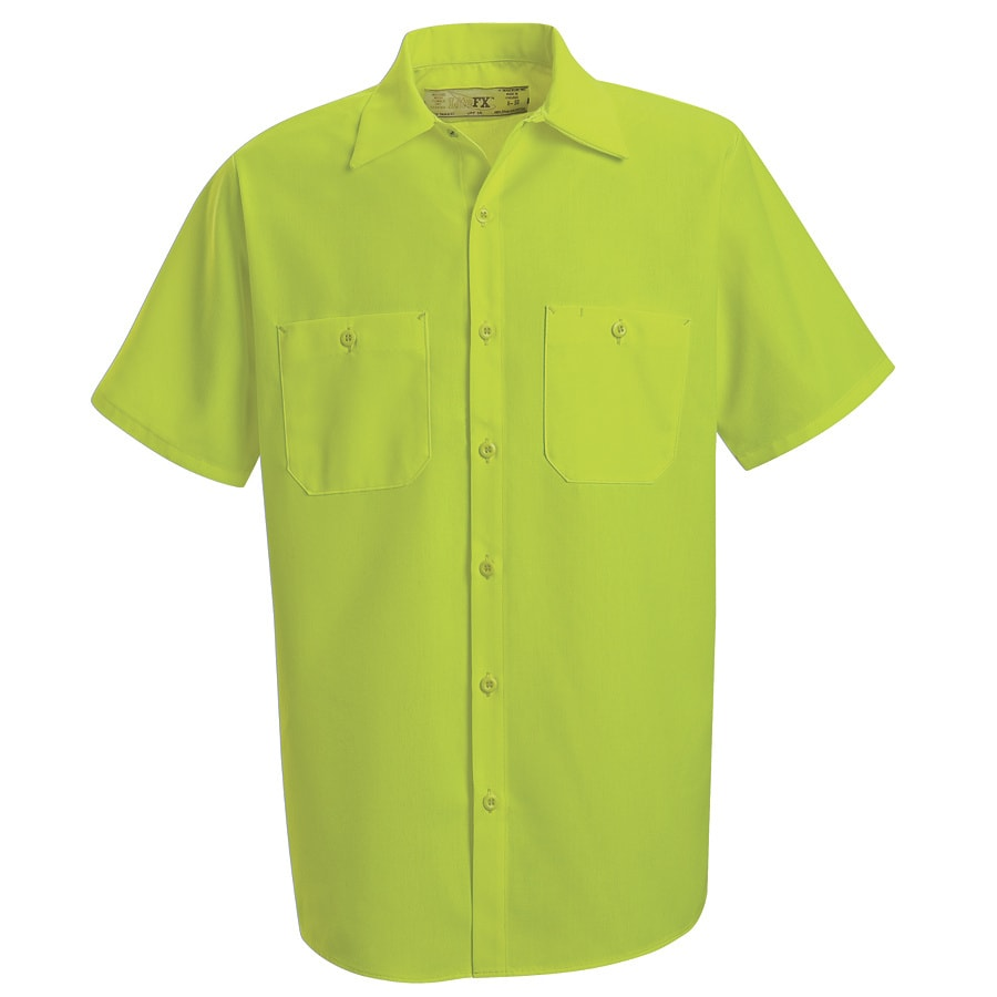 Red Kap Men's X-Large Fluorescent Yellow Poplin Polyester Short Sleeve Uniform Work Shirt