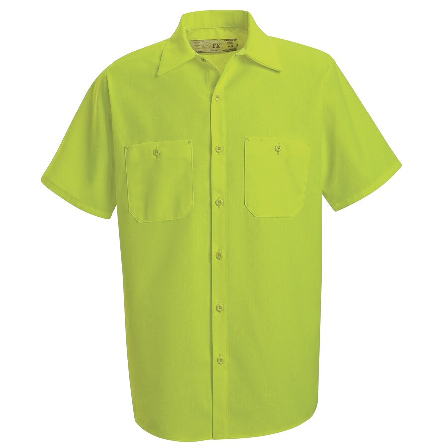 Red Kap Men's Medium-Long Fluorescent Yellow Poplin Polyester Short Sleeve Uniform Work Shirt