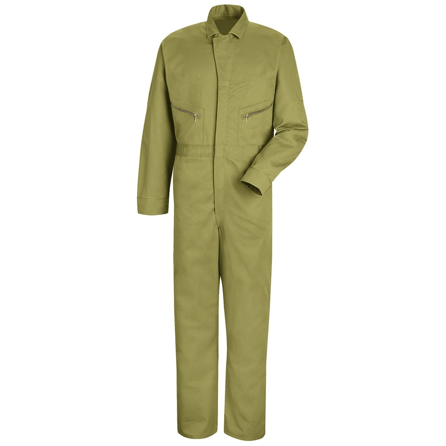 Red Kap 38 Men's Khaki Long Sleeve Coveralls