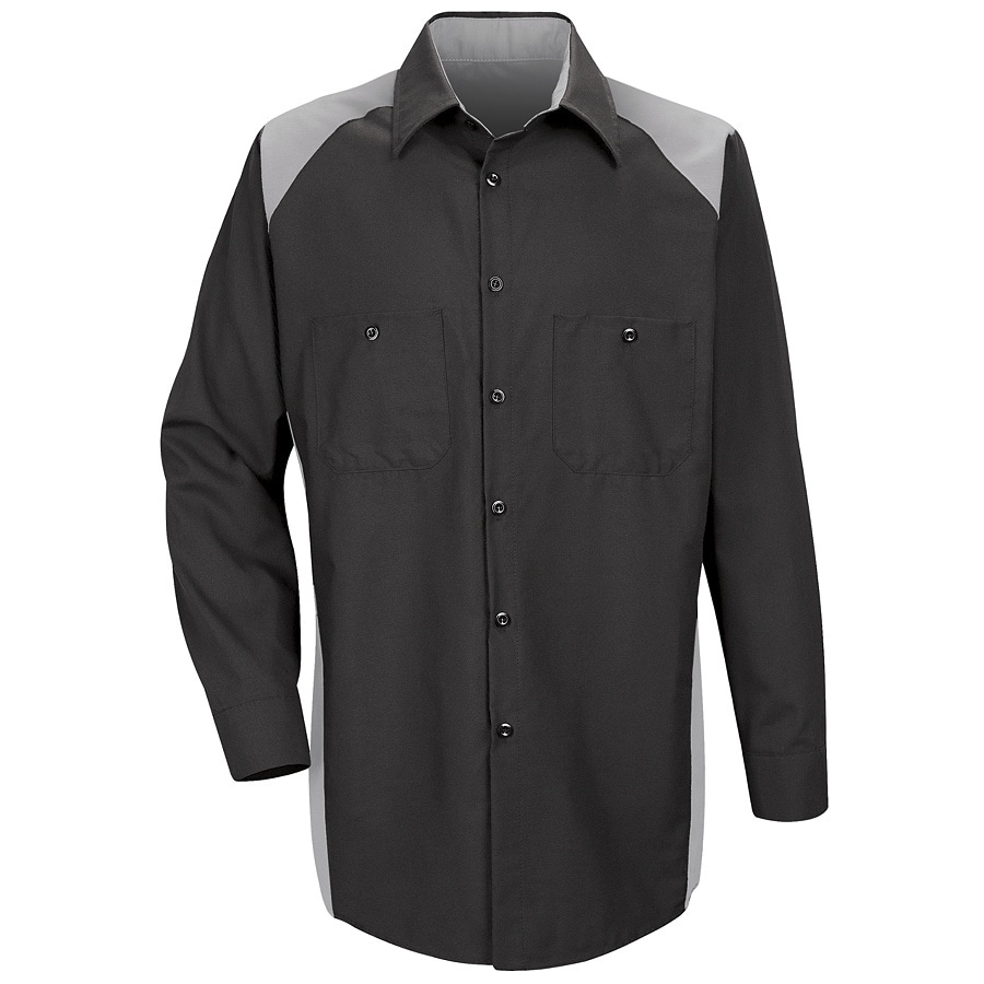 Red Kap Men's Large-Long Silver Poplin Polyester Blend Long Sleeve Uniform Work Shirt