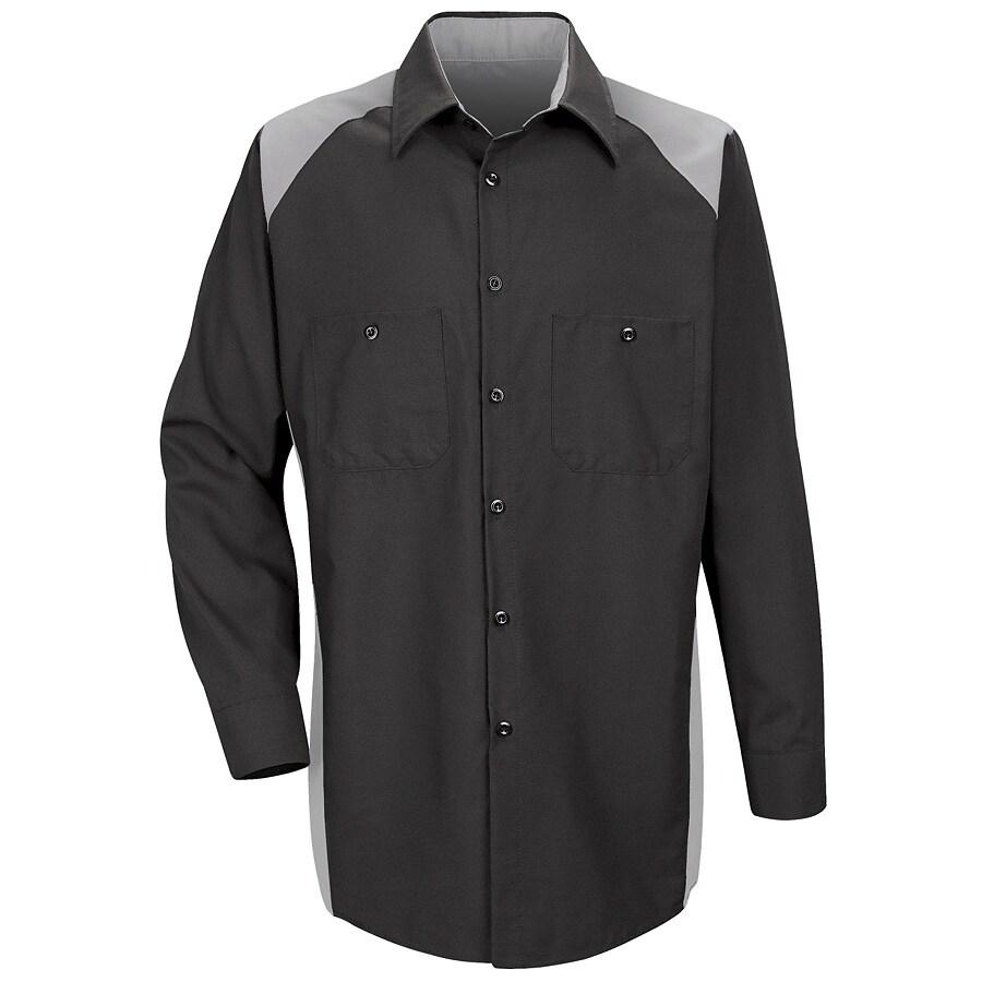 Red Kap Men's Medium Silver Poplin Polyester Blend Long Sleeve Uniform Work Shirt