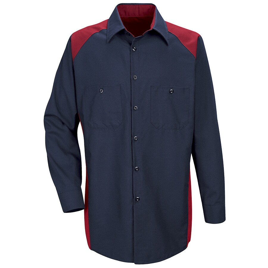 Red Kap Men's Large-Long Red Poplin Polyester Blend Long Sleeve Uniform Work Shirt