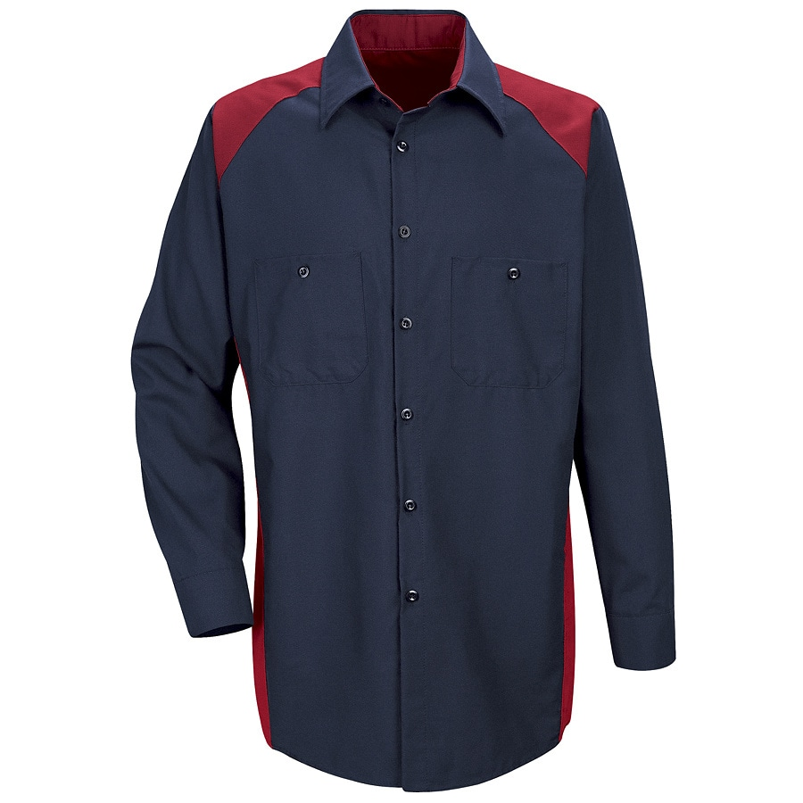 Red Kap Men's Large Red Poplin Polyester Blend Long Sleeve Uniform Work Shirt