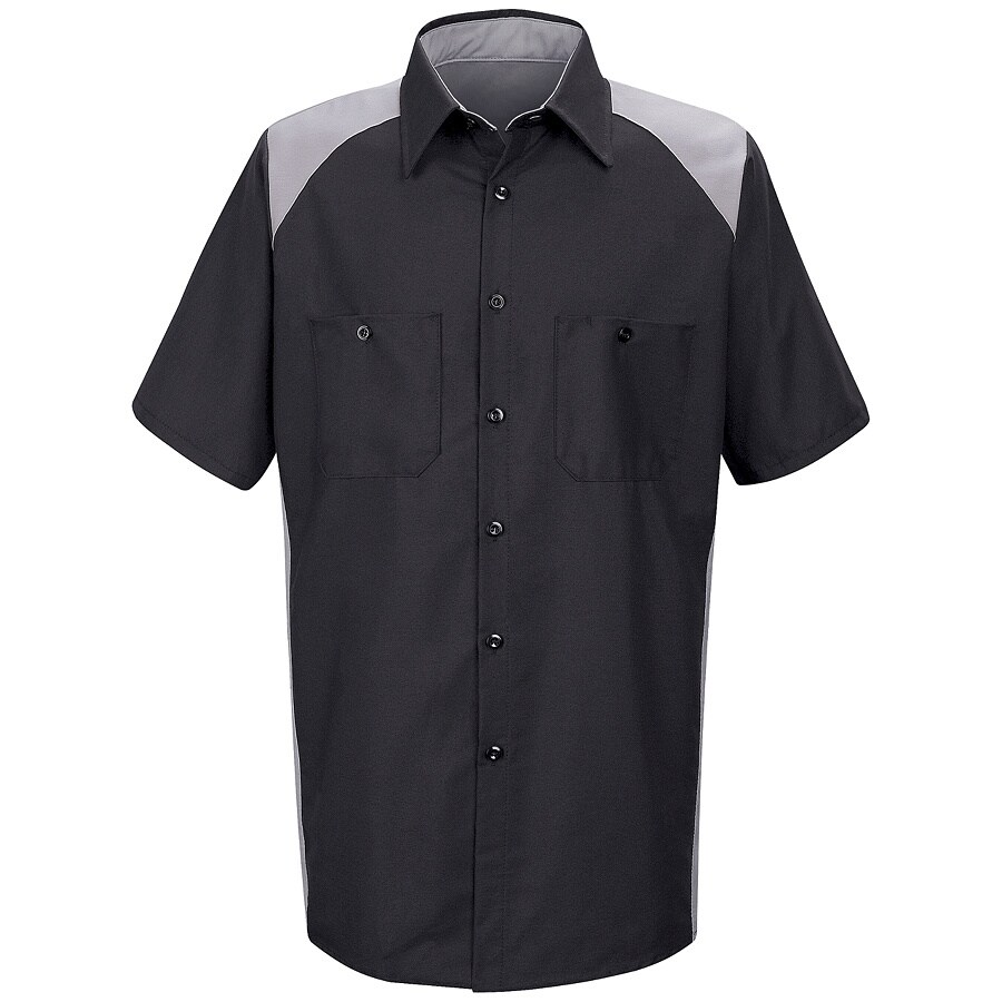 Red Kap Men's Large-Long Silver Poplin Polyester Blend Short Sleeve Uniform Work Shirt