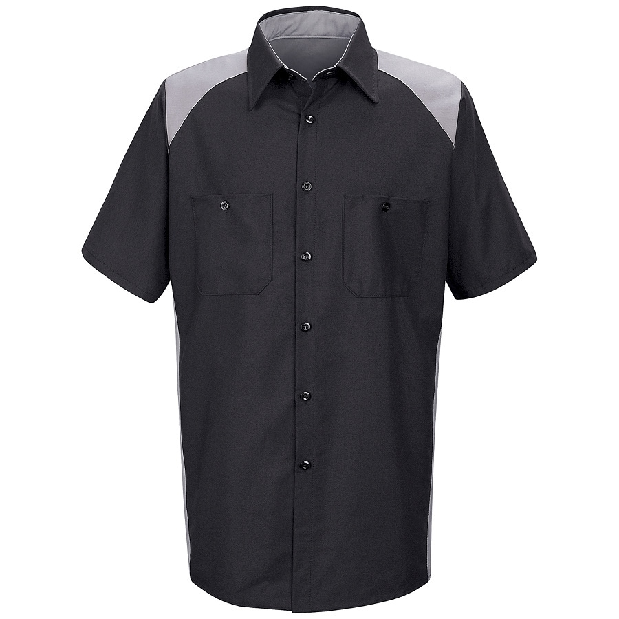 Red Kap Men's Medium-Long Silver Poplin Polyester Blend Short Sleeve Uniform Work Shirt