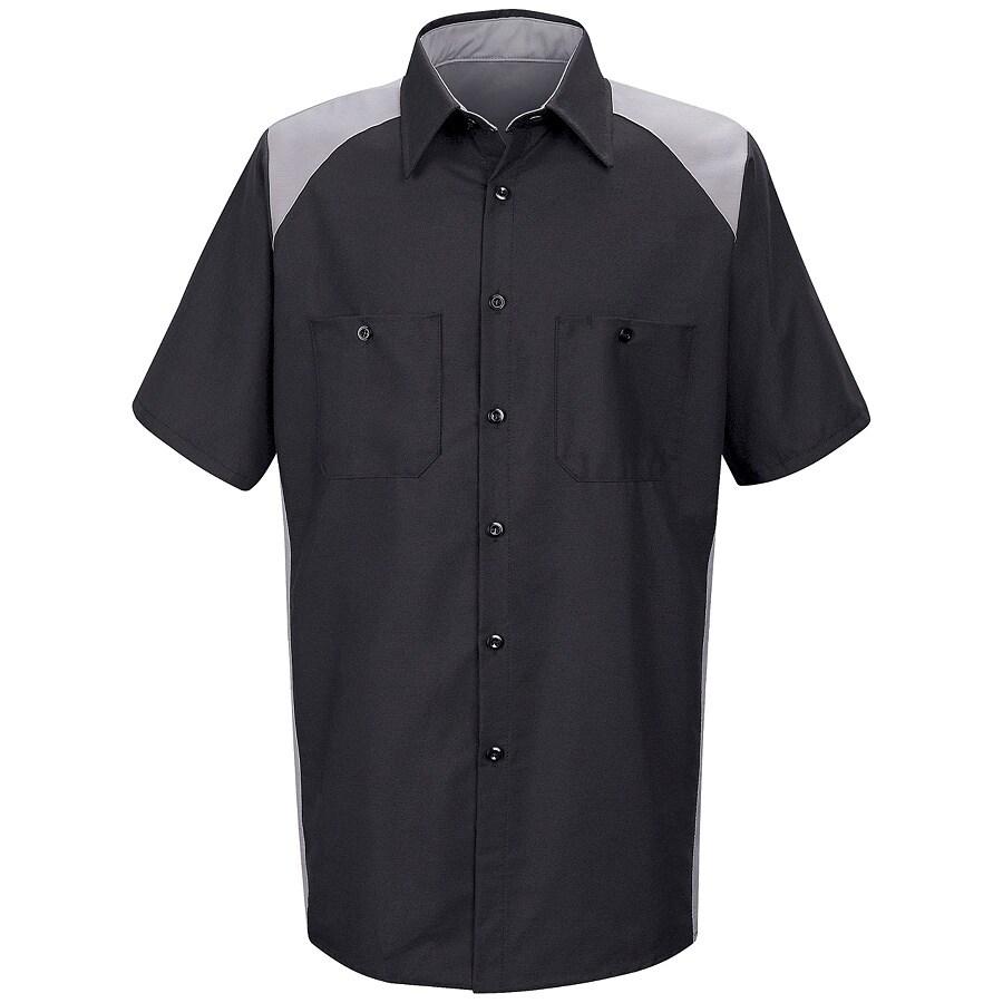Red Kap Men's XL-Long Silver Poplin Polyester Blend Short Sleeve Uniform Work Shirt